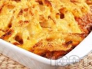 Рецепта Пастичио - гръцки макарони с кайма, канела, бекон, пармезан, гауда и сос болонезе